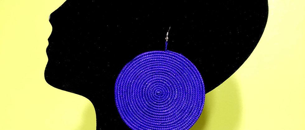 Woven Sisal Straw Disc Earrings-Purple_Large