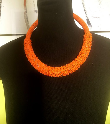 Maasai Orange Beaded Necklace