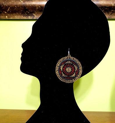 Disc Beaded Earrings-Gold Design