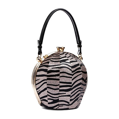 Black and Silver Zebra Leather Ball Bag