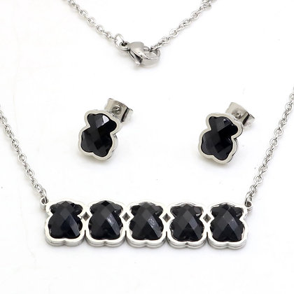 Stainless Steel Bear Necklace Silver Jewelry Set