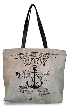 """WE HAVE THIS HOPE""  RECYCLED LEATHER TOTE"
