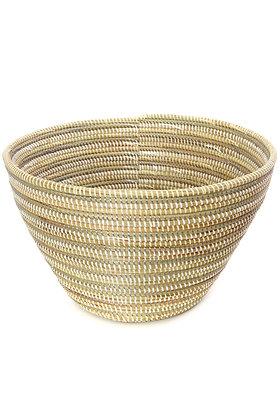 Striped Silver, Cream & White Funnel Basket