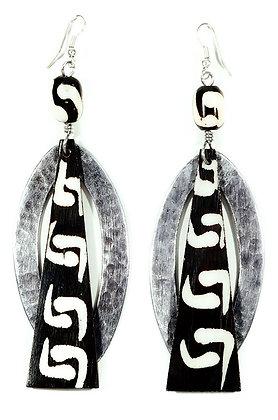 Tin Marquise and Batik Bone Trapezoid Earrings