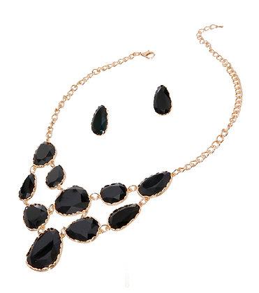 Black Teardrop Resin Necklace Set