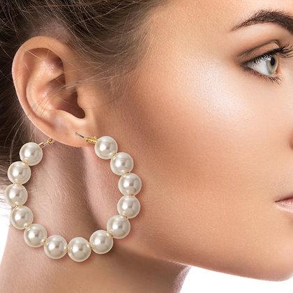 Large Cream Pearl Hoops