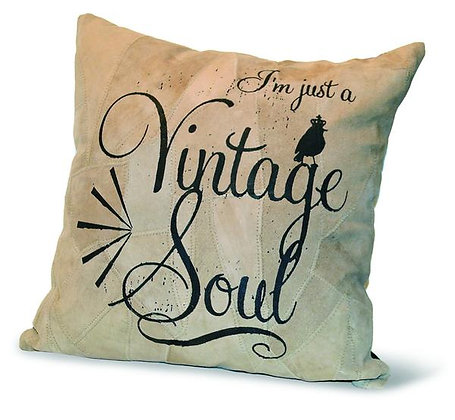 I'M JUST A VINTAGE SOUL  RECYCLED LEATHER PILLOW