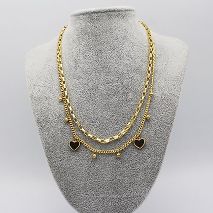 Multilayer Heart Pendant Reversible Necklace 18k Gold-Plated