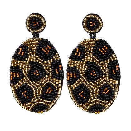 Leopard Seed Beaded Earrings