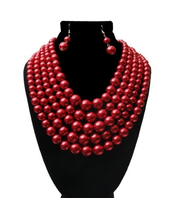 Wine Multi (5) Strand Pearl Necklace Set