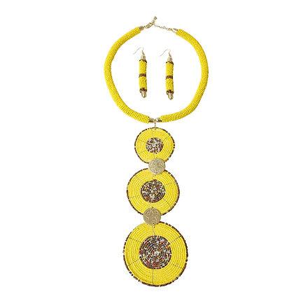 Yellow Circle Bead Drop Necklace Set