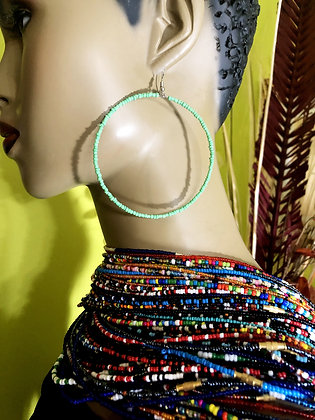 Green Beaded Earring Hoops