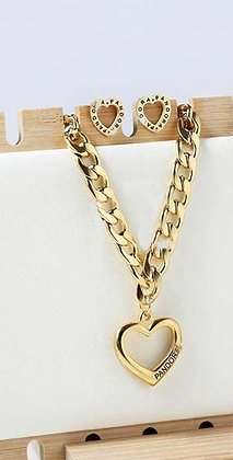 Heart-Shaped Designer Inspired Titanium Steel Necklace Set