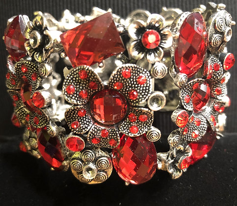 Red and Antiquated Silver Flower Stretch Bracelet