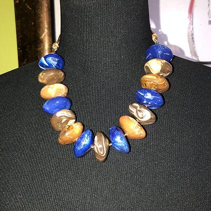 Oval Marble-Like ResinNecklace w/ Earrings