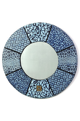 "16"" Round Blue Waxed  Cloth Mirror"
