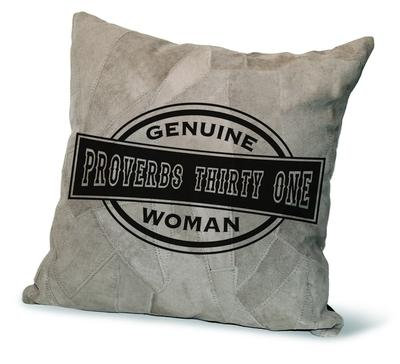 """GENUINE PROVERBS WOMEN"" RECYCLED LEATHER PILLOW"