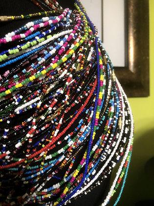 Three (3) Screw-Clasp Assorted Waist Beads, Non-Elastic, Non-Tie Cords