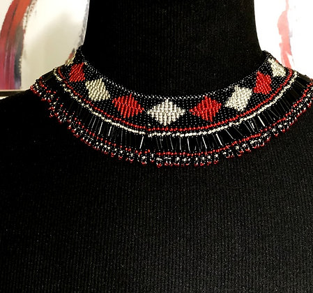 Nyota Glass Beaded Necklace..Red/Black/White