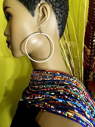 White Beaded Earring Hoops