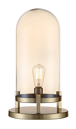 19 inch Soft Brass and Amber Pearl Done Lamp Light
