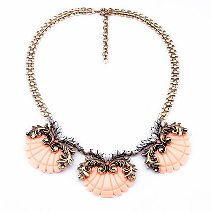 Orange Resin and Rhinestone Designed Decorative Necklace