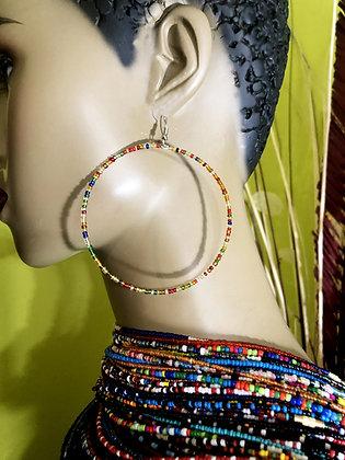 Rainbow Beaded Earring Hoops