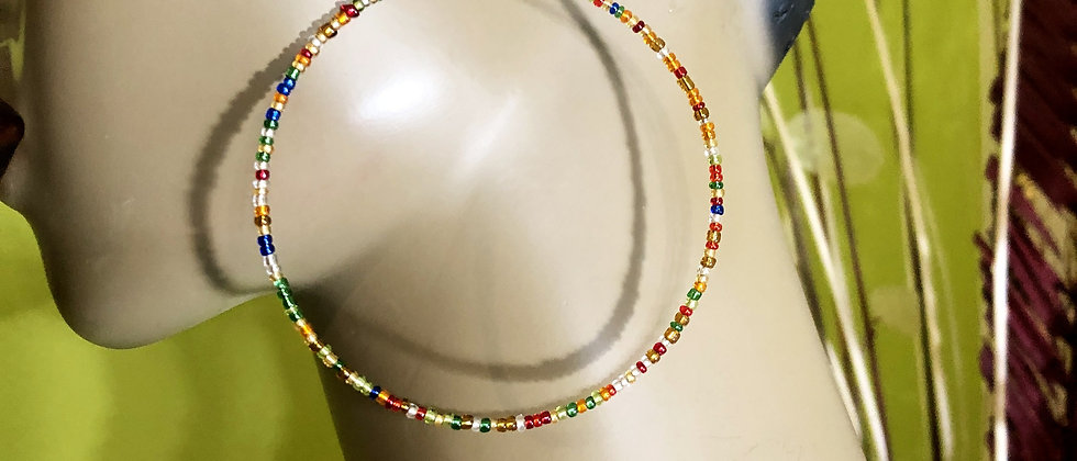Rainbow Beaded Earring Hoops