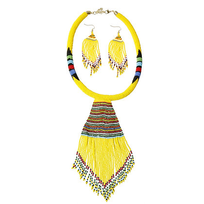 Yellow Bead Tassel Necklace Set