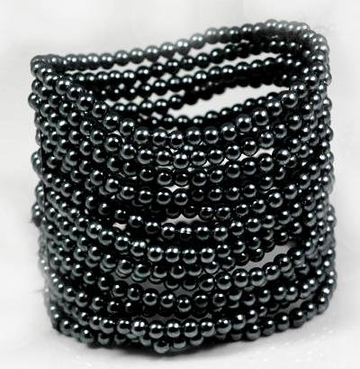 Hematite/Dark Grey Beaded Stretch 15 Layered Style Bracelet