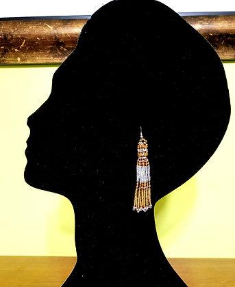 Tassel Dangle Beaded Earrings..Silver/Gold