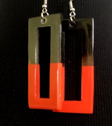 100% Buffalo Horn Orange Lacquer Earrings