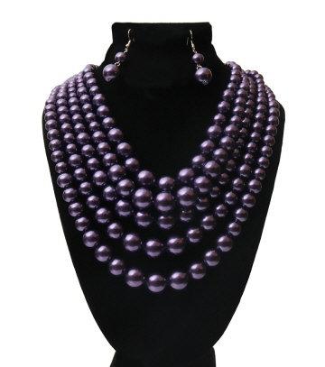 Dark Purple Multi (5) Strand Pearl Necklace Set