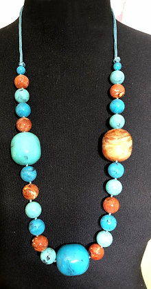 Marble Design Beautiful Faux Turquoise Long Necklace