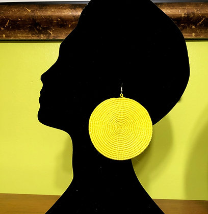 Woven Sisal Straw Disc Earrings-Yellow_Large