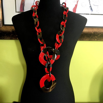 100% Buffalo Horn Red Lacquer Necklace