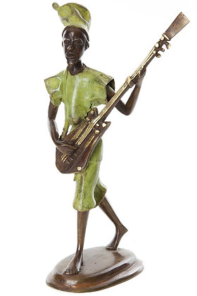 Hand Sculptured Bronze Burkina  Griot Musician with Xalam