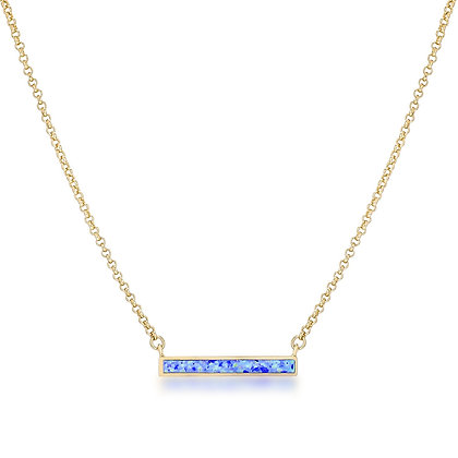 18k Gold Plated Blue Opal Bar Necklace