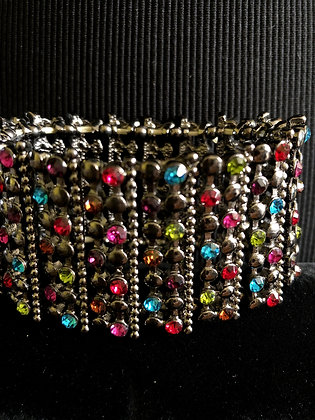 Women's Statement Multi-Color Rhinestone Stretch Paved Crystal Bracelet