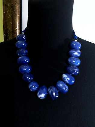 Blue and White Faux Marble Design Necklace