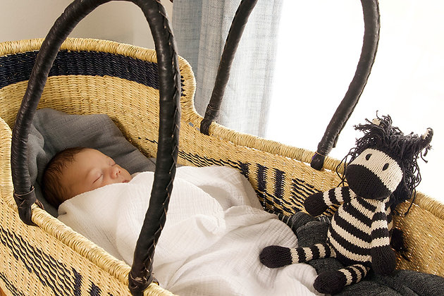 Indigo Angel Wings Moses Basket with Leather Handles