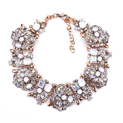 """Exaggerated """"Clear"""""""" Crystal and Rhinestone Statement Choker"""