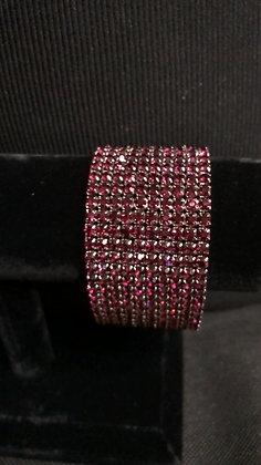 10-Tiered Sparkling Dark Burgundy Rhinestone Stretch Bracelet