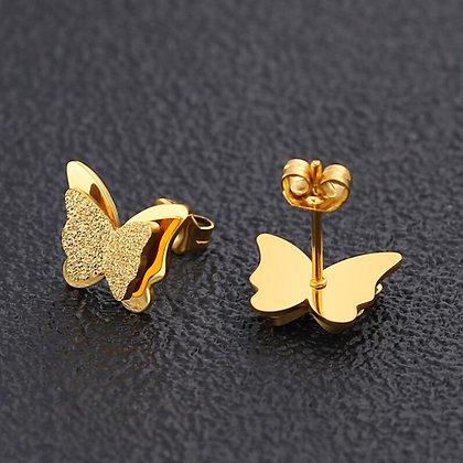 Titanium Steel Stud Butterfly Earring