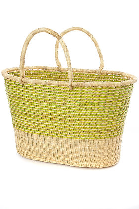 Large Lime Pinstripe Tailored Tote