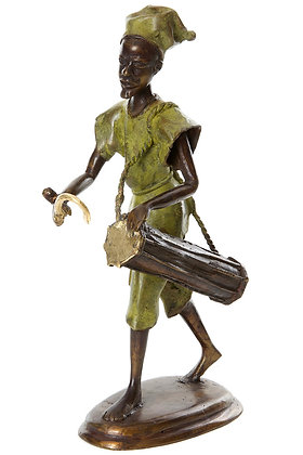 Hand Sculptured Bronze Burkina Griot Drummer