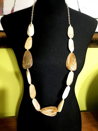 Flat Faux Stone Resin Beige Long Necklace