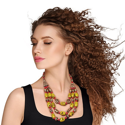 Unique and Stylish Mustard/Red/Burnished Gold  Bead Bohemian Necklace