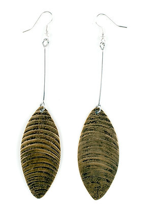 Textured Brass Ellipse Earrings