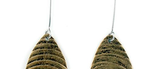 Textured Brass Ellipse Earrings